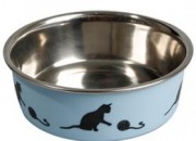 Метална купа за коте Bella INOX с гумена основа -синя – 0.16 л, ф 10см. ID- 0402601