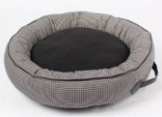 Легло кръг сиво/черно с кожен кант -S – 50 х 50 х 15 см.