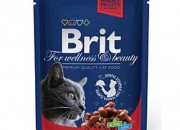 Brit Premium Adult Cat – пауч с говеждо и грах – 100 гр.