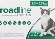 Merial Broadline – широкоспектърна защита срещу вътрешни и външни паразити при котки с тегло 2.5 – 7.5 кг. / 3  пипети /