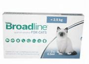 Merial Broadline – широкоспектърна защита срещу вътрешни и външни паразити при котки с тегло до 2.5 кг. / 3 броя пипети /