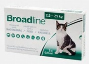 Merial Broadline – широкоспектърна защита срещу вътрешни и външни паразити при котки с тегло 2.5 – 7.5 кг. / 1 броя пипети /